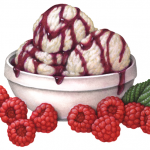 Vanilla ice cream in a white bowl with drizzled raspberry Melba sauce and raspberries