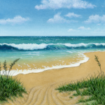 Ocean beach scene with dune grass