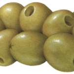 Eight pitted green Queen olives