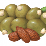 Large green Queen olives stuffed with almonds