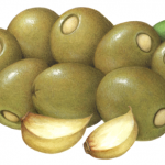 Large green Queen olives stuffed with garlic