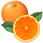 Whole orange with a cut orange half and leaves
