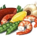 Paella ingredients including Cajun sausage, shrimp, peas in a pod, garlic, parsley and a lemon wedge.