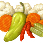 Giardiniera Salad consisting of Marinated cauliflower, carrots, celery, red pepper strips, peperoncinis and salonica peppers