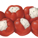 Six red sweetie pepps peppers stuffed with cream cheese