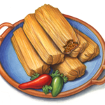 Six tamales on a blue plate with jalapeno peppers.