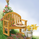 A garden scene with a garden chair, gardener's hat, flowers, watering can, and pruning shears.