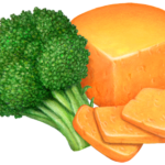Stalk of broccoli with a wedge of cheddar cheese and three cut cheese slices.