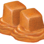 Two cubes of caramel melting.