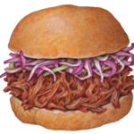Pulled pork sandwich with purple coleslaw.