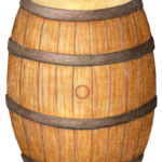 Wooden whiskey barrel.