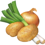 Two potatoes, two leeks and an onion.