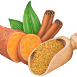 Ingredients for sweet potatoes including a cut hald sweet potato, cinnamon sticks and a scoop of brown sugar.