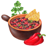 Ceramic bowl of black bean chili with tortilla chips, cilantro and an Ancho pepper.