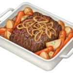 Beef pot roast with carrots, potatoes and onions in a white roasting pan.