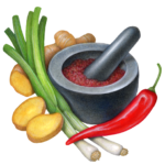 general tso ingredients-scallions-green onions-ginger-red chili pepper-mortar-pestle-ground spices
