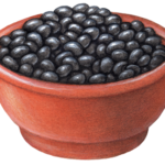 Terra cotta bowl with black beans.