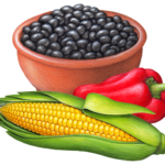 Bowl of black beans with a red chili pepper and an ear of corn.