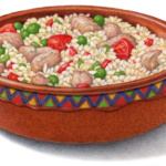 Mexican terra cotta bowl of chicken and rice.