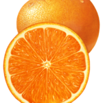 One whole orange with a cut orange half.