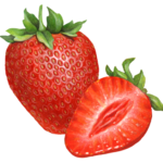 One whole strawberry with a cut strawberry half.