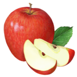 Red apple with two apple slices and a leaf.
