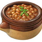 Brown ceramic crock of baked beans