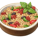 Brown bowl of couscous with red and green peppers, black olives and a basil garnish
