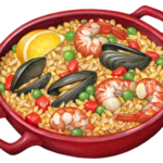Red dish of paella with rice, mussels. shrimp, peas, red pepper and a lemon garnish.