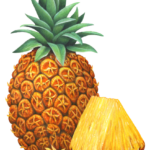 One whole pineapple with a cut piece of pineapple.