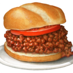 Sloppy Joe sandwich with a tomato slice and bun on a white plate.