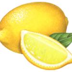 One whole lemon with a cut lemon wedge and a leaf.
