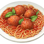 Wwhite plate of spaghetti and meatballs