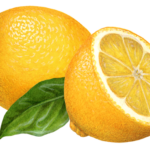 One whole lemon, one cut half lemon, and a leaf.