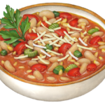 White bowl of Pasta e Fagioli with tomatoes, celery, green pepper, orzo, and Cannelloni beans.