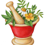 Mortar and pestle with fresh herbs.