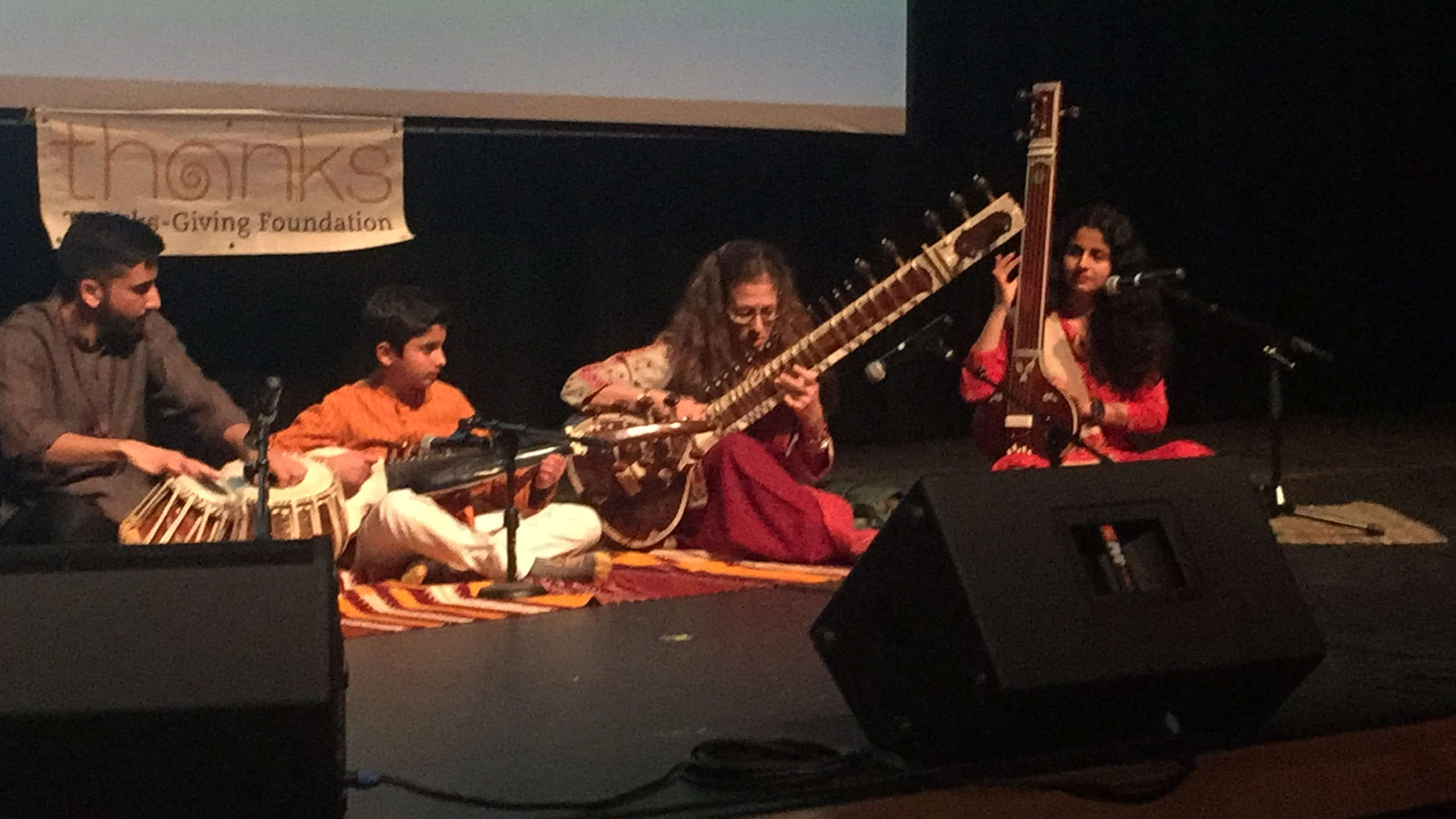Paarth Kuntawala, Neel Sachdev (learning sarode), Amie, Dr. Malavika Sachdev (learning vocal) perform at Festival of Faiths, in Dallas - 2018