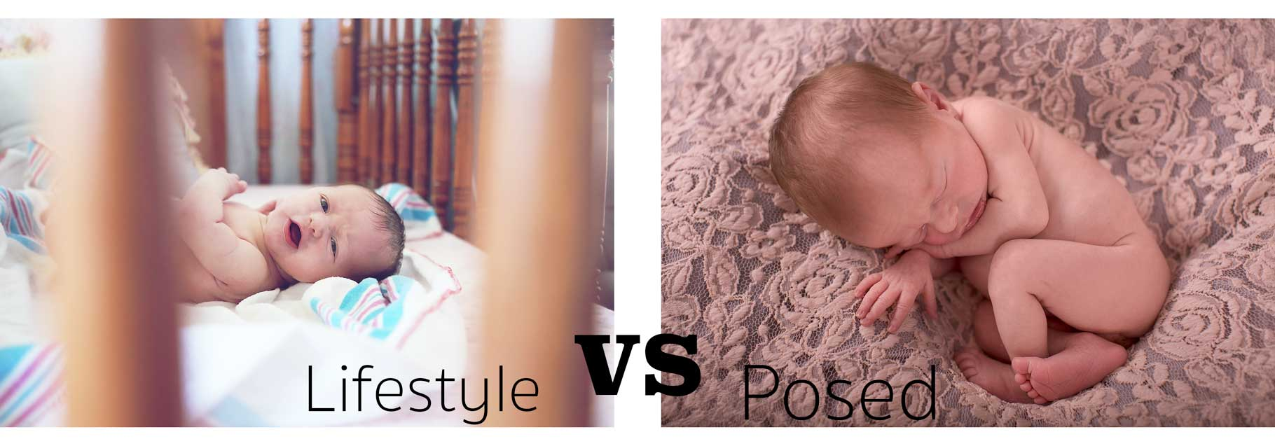 Image for blog lifestyle session vs posed newborn session with two babies pictures compared