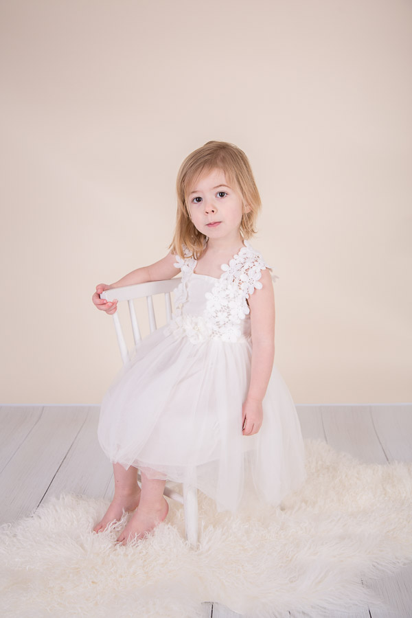 Image of girl wearing white dress from classic children session from Halifax Family Photographer