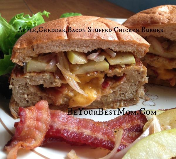 Apple, Cheddar,Bacon Stuffed Burger