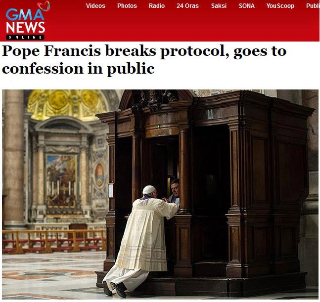 pope confesses in public