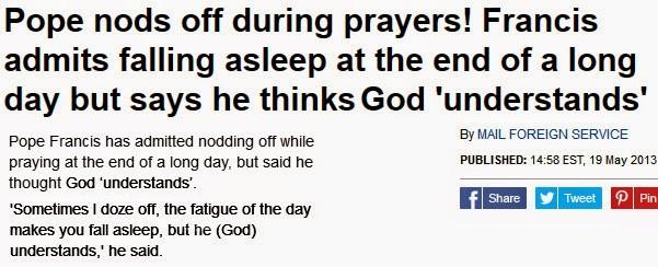 pope sleeps during prayers