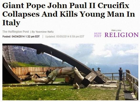 giant crucifix kills man