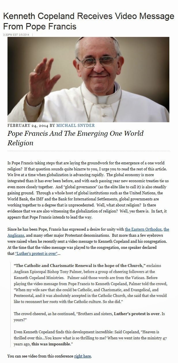pope to protestants