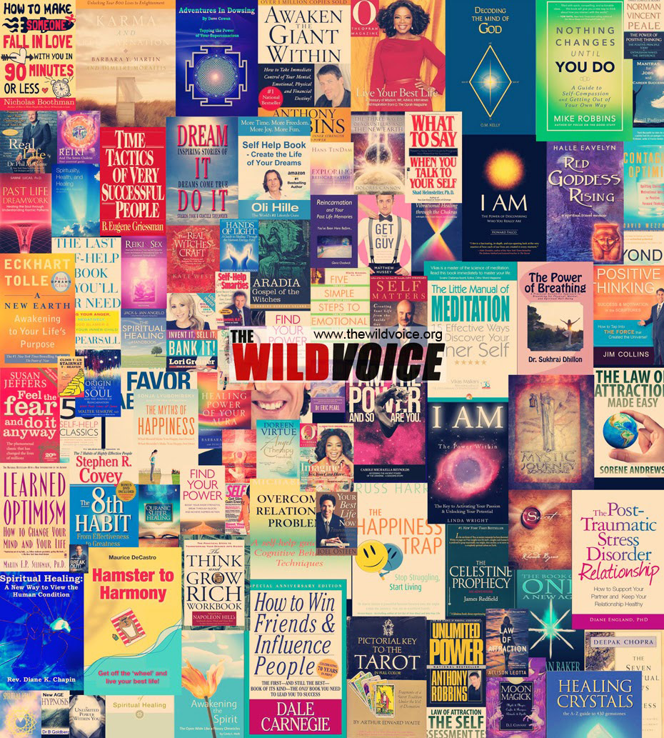 collage of self help books the wild voice