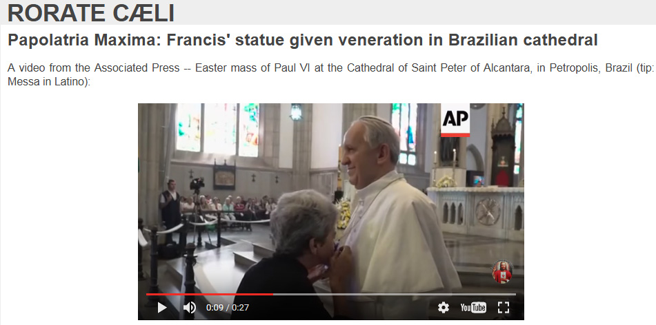 pope francis statue brazil