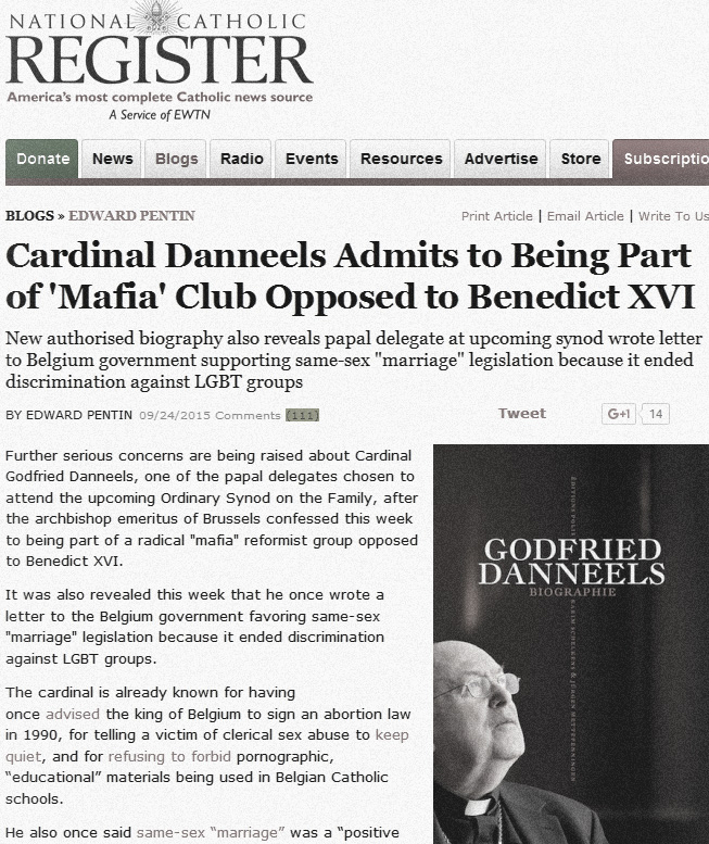 Cardinal Danneels Admits to Being Part of Marifa