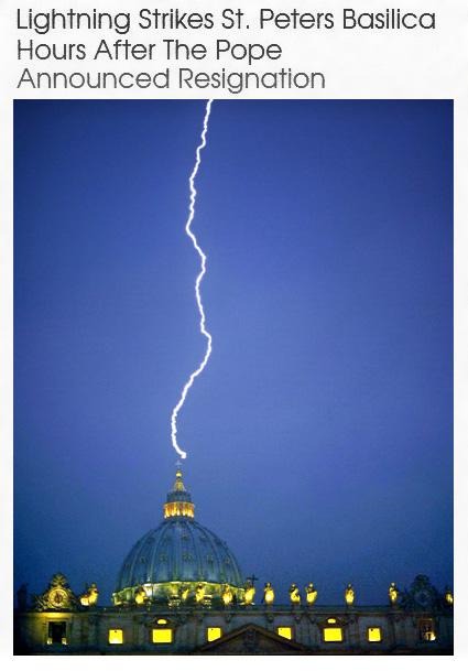 Lightning hits St. Peter's Resignation