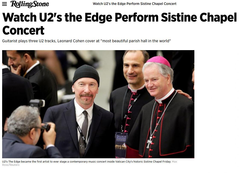 u2 the edge sistine chapel