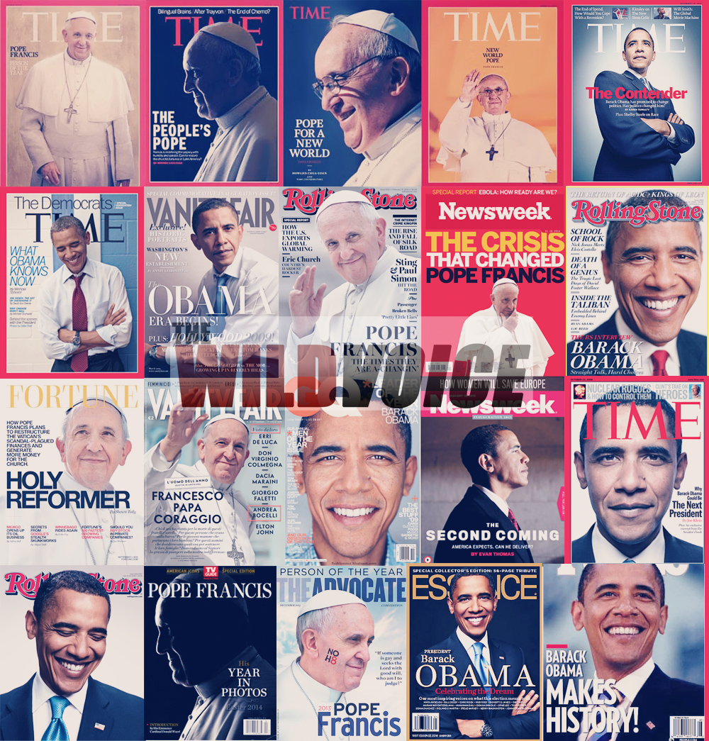 Pope Francis, Barack Obama, magazine, covers, collage, fame, WILD VOICE, Bergoglio, President, USA